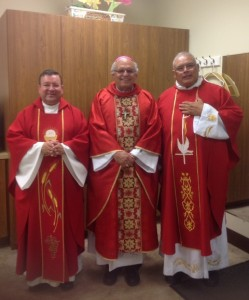Father Francisco Osorio(Left), Most Reverend Alvaro Ramazzini(Middle), Father Marco Deleon(Right)